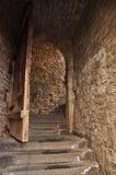Medeltida port och öppen wood dörr Royaltyfri Fotografi