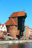 Medeltida portkran Zuraw i Gdansk Arkivfoto