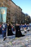 medeltida procession för karneval arkivfoto