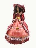 Medeltida röd utsmyckad klänning för abstrakt tappning på en mannequineisola Royaltyfri Fotografi
