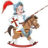 Medeltida riddare för tecknad film som rider en häst vektor illustrationer