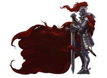 Medeltida riddare med det långa svärdet royaltyfri illustrationer