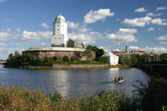 medeltida rus för slott vyborg Fotografering för Bildbyråer