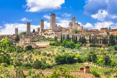 medeltida San Gimignano - Tuscany royaltyfri foto