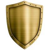 Medeltida sköld för guld- eller bronsmetall som isoleras på fotografering för bildbyråer
