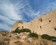 Medeltida slott av Kritinia i Rhodes Greece, Dodecanese Royaltyfri Foto
