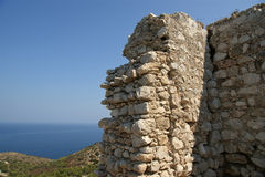 Medeltida slott av Kritinia i Rhodes Greece, Dodecanese Royaltyfri Fotografi