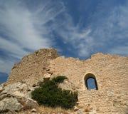Medeltida slott av Kritinia i Rhodes Greece, Dodecanese Arkivfoto