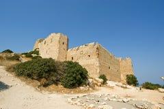 Medeltida slott av Kritinia i Rhodes Grekland Arkivfoton