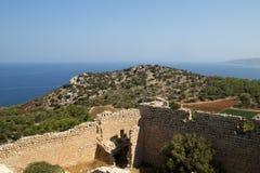 Medeltida slott av Kritinia i Rhodes Grekland Royaltyfri Bild