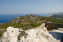 Medeltida slott av Kritinia i Rhodes Grekland Arkivfoto