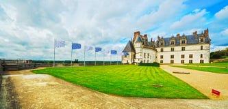 Medeltida slott för Chateaude Amboise, Leonardo Da Vinci gravvalv Loir arkivbilder