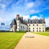 Medeltida slott för Chateaude Amboise, Leonardo Da Vinci gravvalv. Loire Valley Frankrike Royaltyfri Fotografi