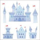 Medeltida slott för gullig tecknad filmvektor Arkivfoto