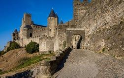 Medeltida slott i den stärkte staden av Carcassonne Arkivbilder