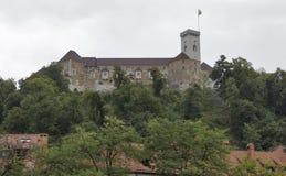 Medeltida slott i Ljubljana, Slovenien Royaltyfria Bilder