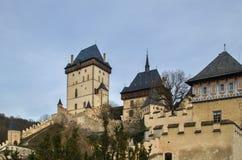 Medeltida slott Karlstejn i Tjeckien Arkivbild