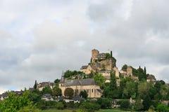 Medeltida slott och stad av Turenne, Frankrike arkivbilder