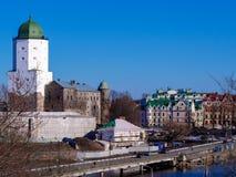 Medeltida slott på ön royaltyfri fotografi