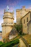 Medeltida slott på Olite Arkivfoto