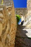 Medeltida slott på Sankt Saturnin-les-benäget Arkivbild