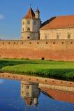 Medeltida slott som avspeglas i vatten Royaltyfri Bild