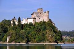 Medeltida slott Zamek Dunajec i Niedzica, Polen royaltyfri fotografi