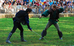 medeltida soldat för slagsmål Arkivbild