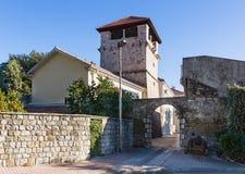 Medeltida sommarhus av den Buca familjen. Tivat. Montenegro Arkivfoto