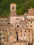 Medeltida Sorano stad i Italien Arkivfoto