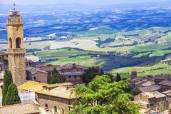 Medeltida städer av Tuscany-Montalcino Royaltyfri Fotografi