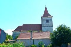 Medeltida stärkt kyrka i Avrig, Sibiu, Transylvania Arkivfoton