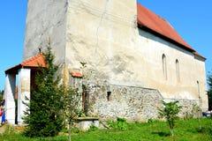 Medeltida stärkt kyrka i Avrig, Sibiu, Transylvania Royaltyfria Bilder