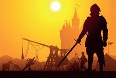 medeltida stående för riddare Royaltyfria Bilder