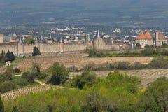 Medeltida stad av Carcassonne Frankrike Arkivfoton
