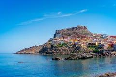 Medeltida stad av Castelsardo på Sardinia Fotografering för Bildbyråer