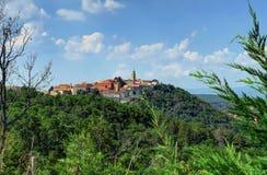 Medeltida stad av Labin i en kulle, Kroatien Royaltyfri Foto