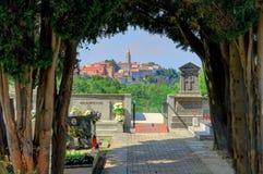 Medeltida stad av Labin i en kulle, Kroatien Arkivbilder