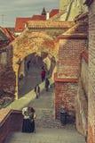 Medeltida stad, Sibiu, Rumänien Arkivbild