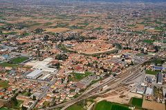 Medeltida stadsflygbildcitadella Arkivfoto