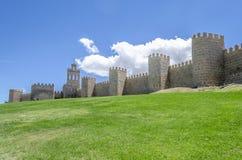 Medeltida stadsvägg som byggs i den romanska stilen om den soliga dagen, A Royaltyfria Foton