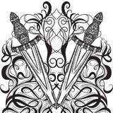 Medeltida svärd och dekorativa kalligrafibeståndsdelar Specificerad hand dragen illustration för tappning högt element Viktorians Arkivbild
