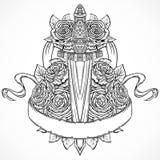 Medeltida svärd, rosor, sidor och bandbaner Dragen illustration för tappning blom- högt detaljerad hand stock illustrationer
