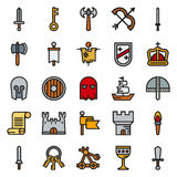 MEDELTIDA symbolsuppsättning av enkla symboler för färg Arkivfoton