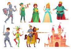 medeltida tecken Den kungliga riddaren med lancen på hästrygg, prinsessa, kungarikekonung och drottning isolerade vektorteckenet stock illustrationer