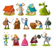 Medeltida tecken och byggnadssamling Tecknad filmriddare, prinsessa, konung, drake, byggnader etc. Vektorsagaobjekt stock illustrationer