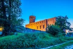 Medeltida Teutonic slott i Swiecie på natten Arkivbild