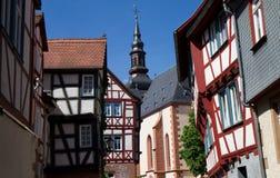 medeltida timberframe för byggnader Arkivfoton