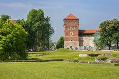 Medeltida tjuvtorn på en Wawel kulle Arkivbild