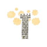 medeltida torn för retro tecknad film Royaltyfri Bild